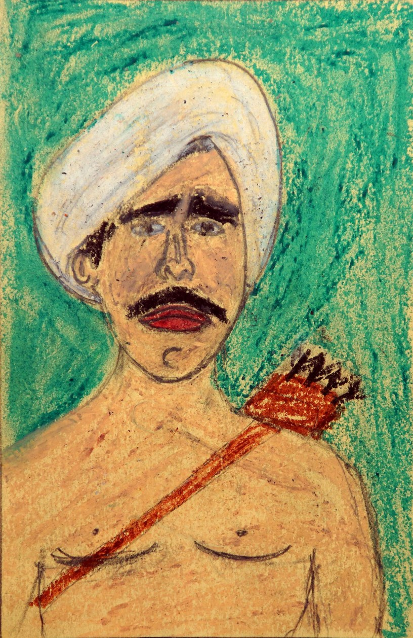 Painting of Birsa Munda, tribal freedom fighter and folk hero by Vinod Tumbada (class 8) won bronze medal in Khula Aasmaan painting competition for children for October to December 2018