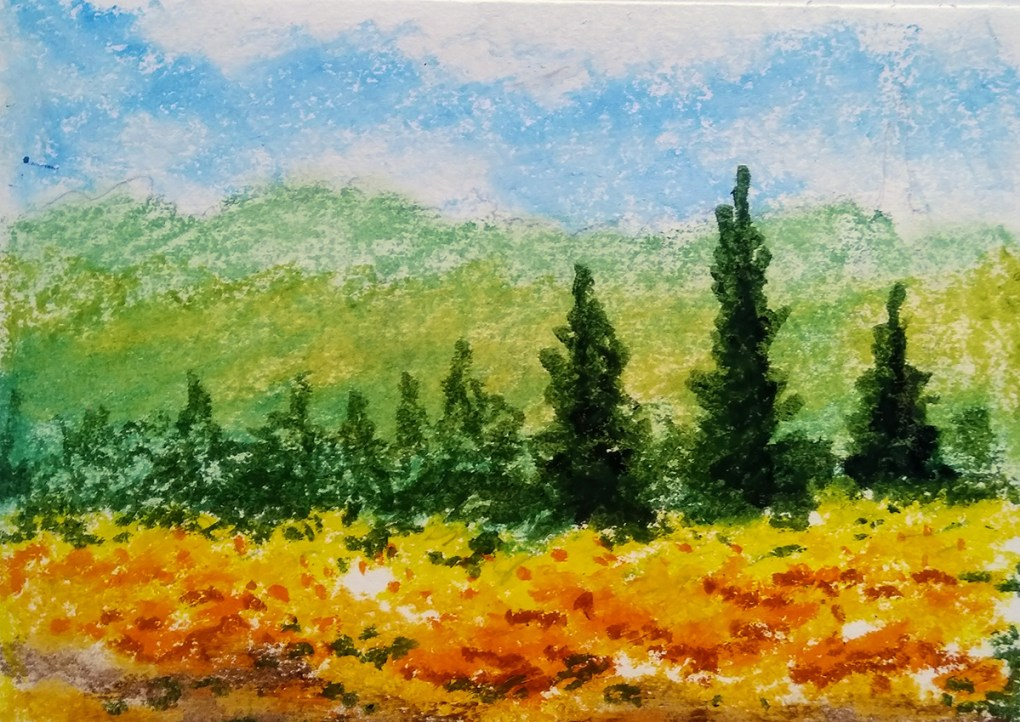 Learn nature painting and landscape painting - nature painting demonstration, landscape painting demonstration