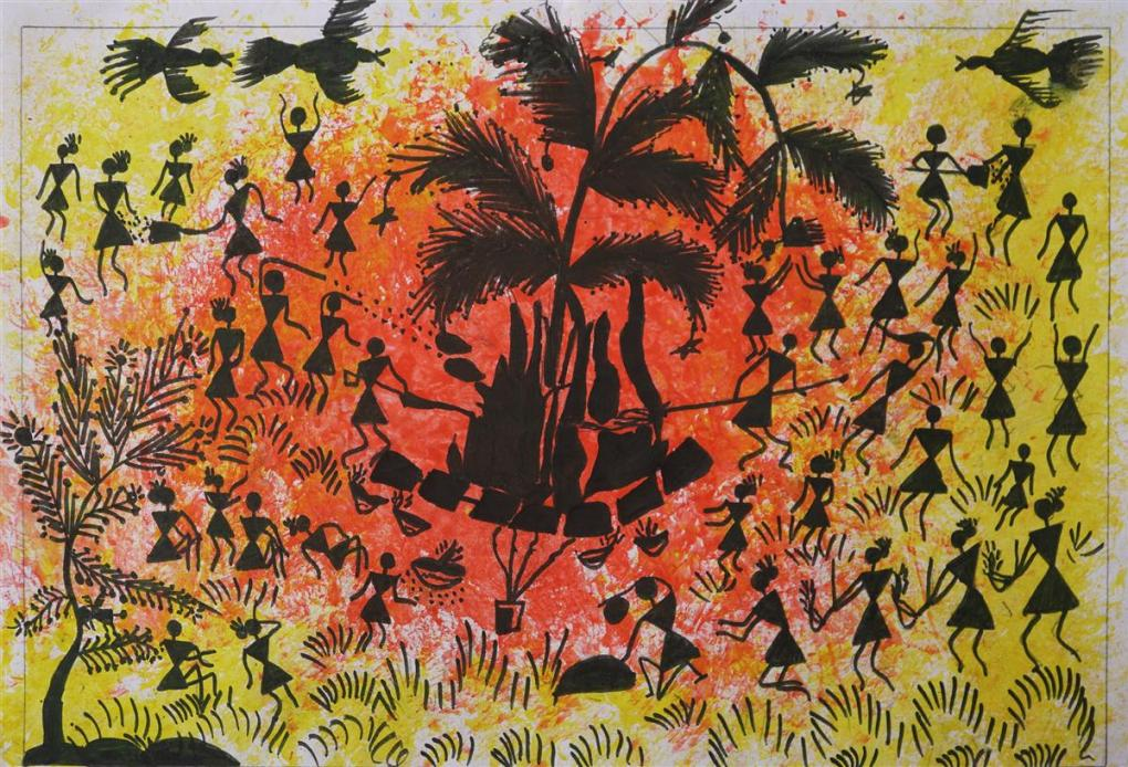 Warli painting of Holi festival is a medal winning painting from Khula Aasmaan painting competition for children