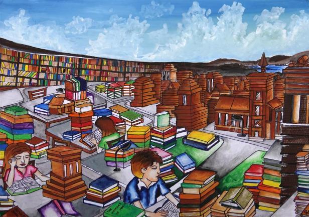 Painting by Nishtha Sharma, Class 8, Amravati Vidyalaya, Panchkula