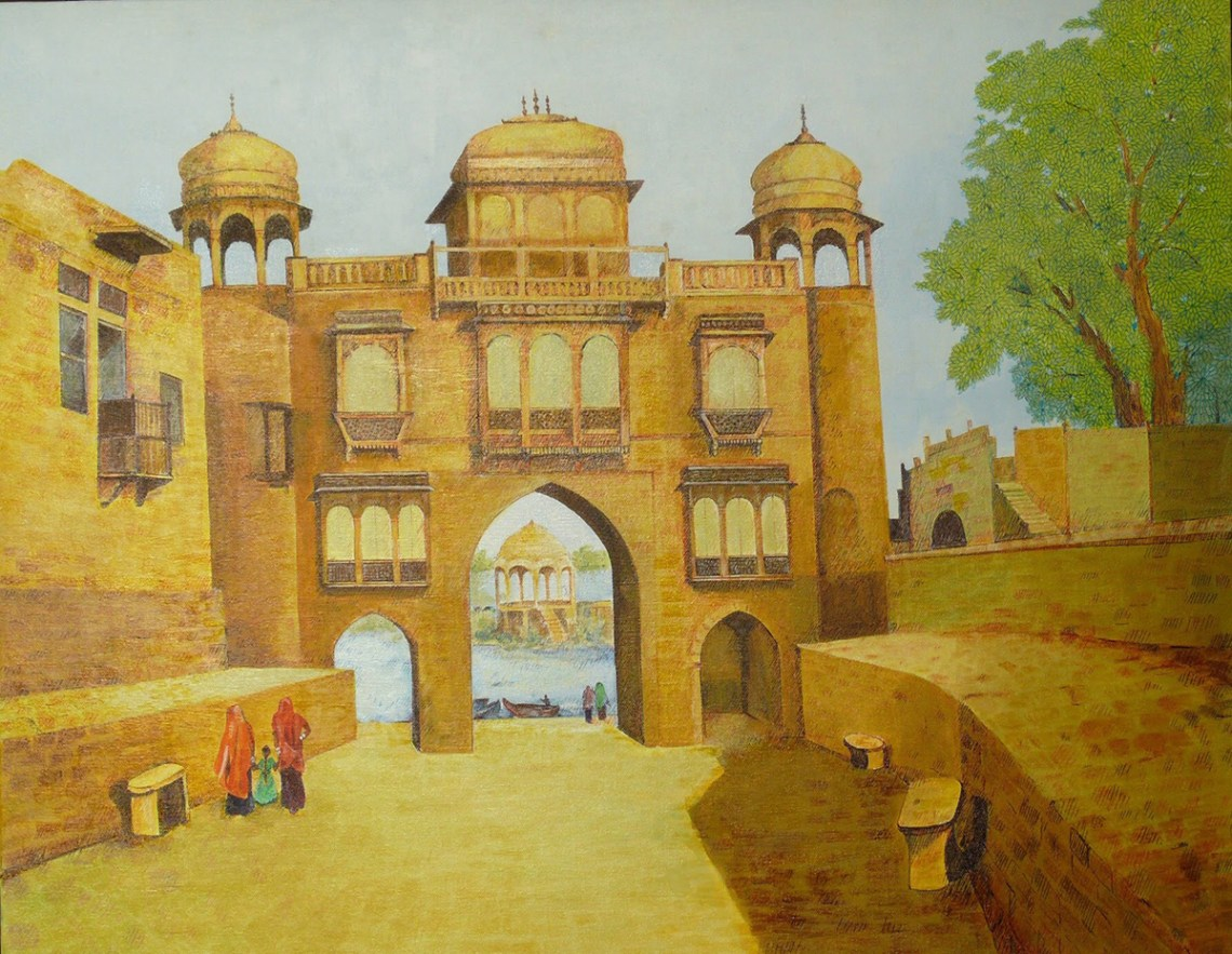Gaddi Sagar Lake entrance gate to the heritage structure, painting by Sandhya Ketkar, Acrylic & Ink on Canvas, 24 x 30 inches