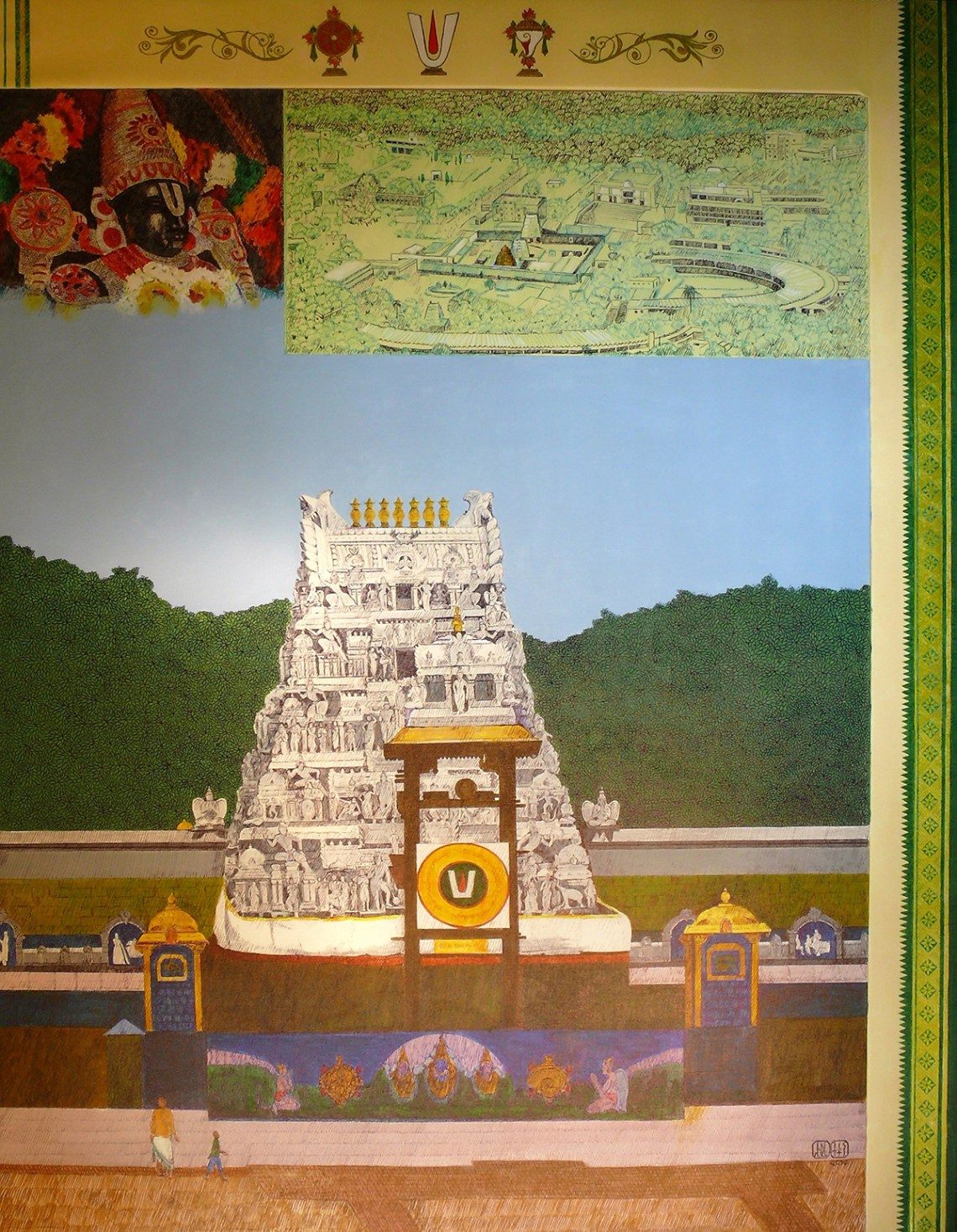 Tirupati Gopuram entrance, painting by Sandhya Ketkar, Acrylic & Ink on Canvas, 52 x 40 inches
