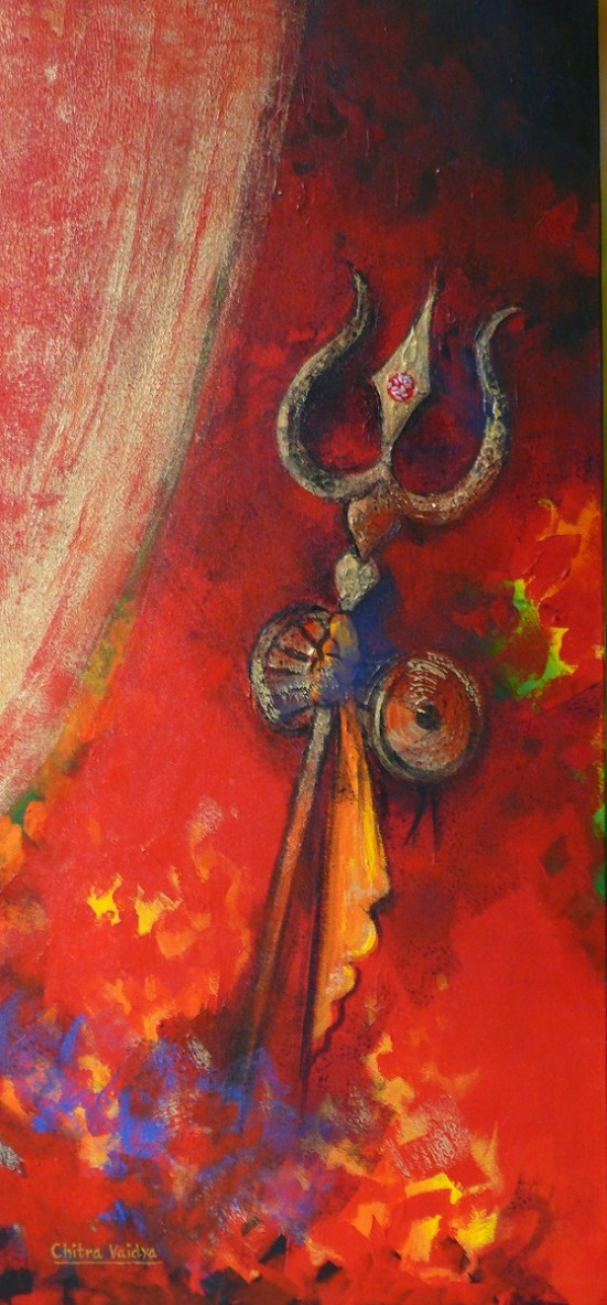 Trishul and damaru, painting by Chitra Vaidya