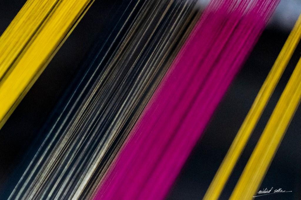 Coloured threads on handloom at Maheshwar