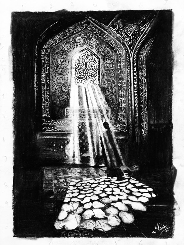 """Ray of Hope, artwork in charcoal pencils by Nalini Dhir - done on day 1 of lockdown for """"Art in the time of Coronavirus - hope and positivity through creativity"""""""