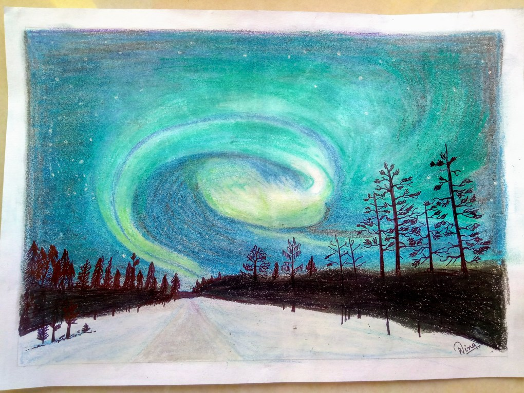 Aurora, painting by Aparajita Neena Soren, Oil pastels on paper, size A4