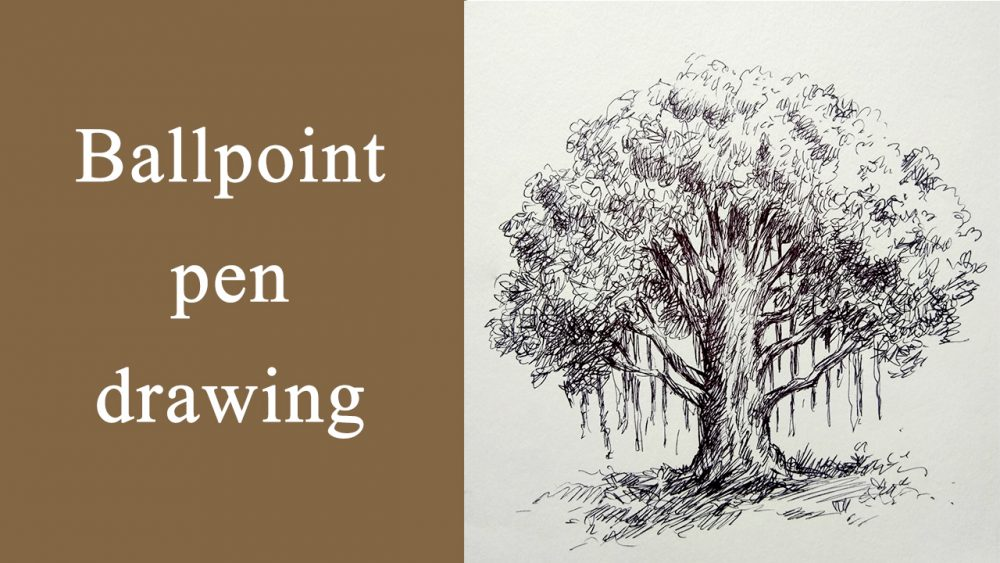 Ballpen drawing of banyan tree - drawing tutorial video