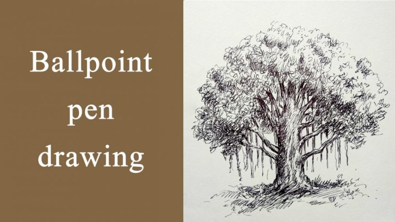 Ballpen drawing of banyan tree - drawing tutorial video