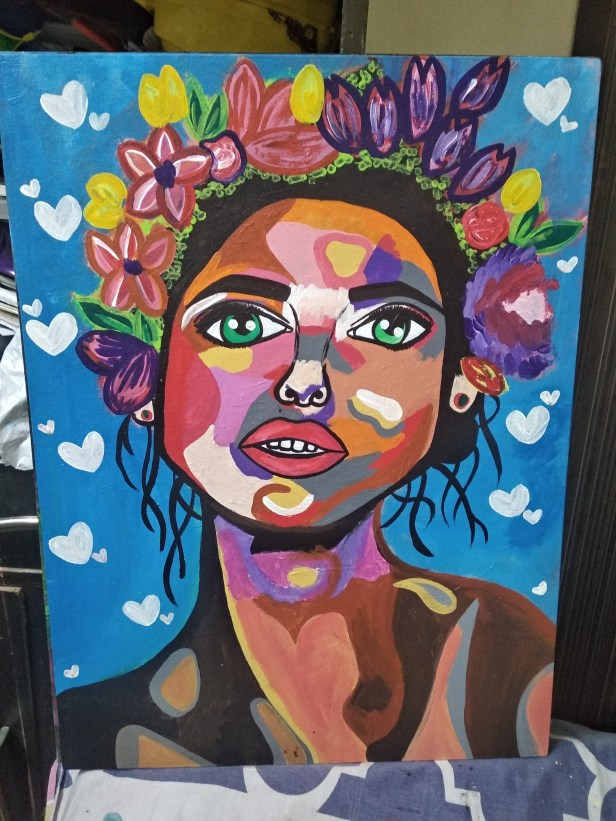 Nature Heart Queen, painting by Gargi Raichand, New Delhi during national lockdown for art project during coronavirus pandemic