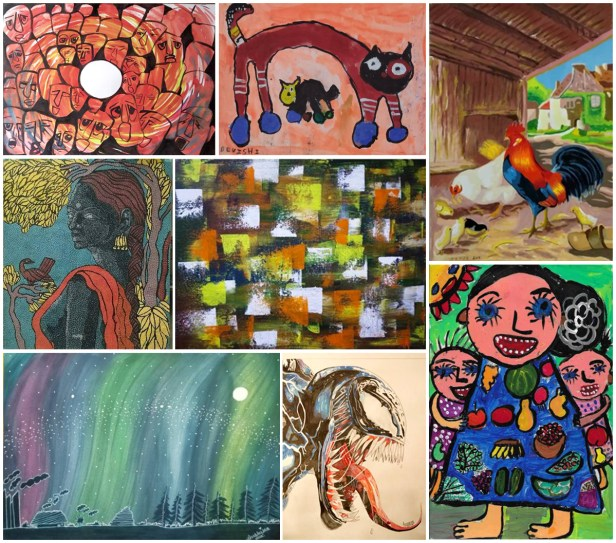 Shortlisted artworks from Khula Aasmaan international free online art competition for October to December 2019