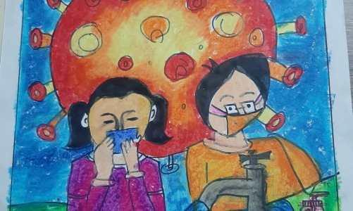 "Painting by Poorvitha S. (class 4) in oil pastels for the art project ""Art in the time of Corona"" by Khula Aasmaan and Indiaart"