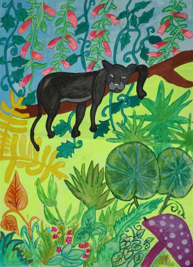 The Jungle Mystery, painting by Sharlina Shete, Class 5, St Helena's School, Pune (shared on World Environment Day (WED) to celebrate biodiversity)