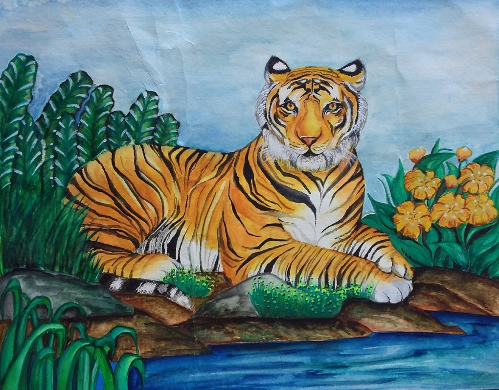 Painting by Anjali Bhatt (14 years), Christ Church Girls' Senior Secondary School, Jabalpur - Honorable Mention in Khula Aasmaan children's art competition for July to Sept 2018