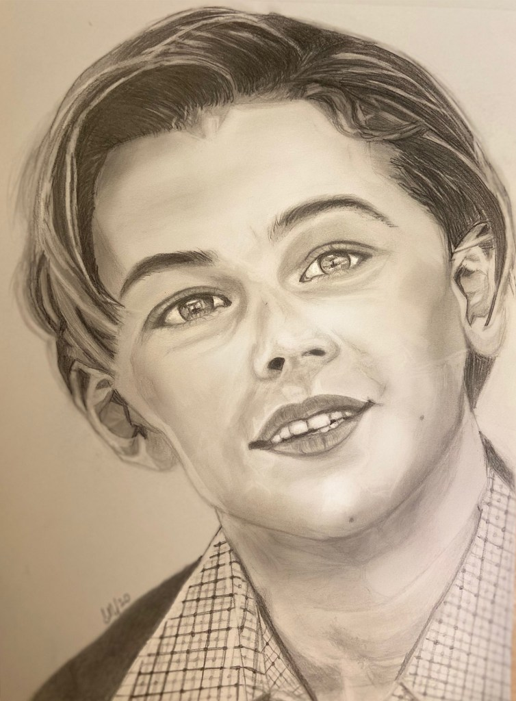 Leonardo DiCaprio, pencil sketch by Dr. Sunita Ahire - Mistri for Art during Covid-19 pandemic