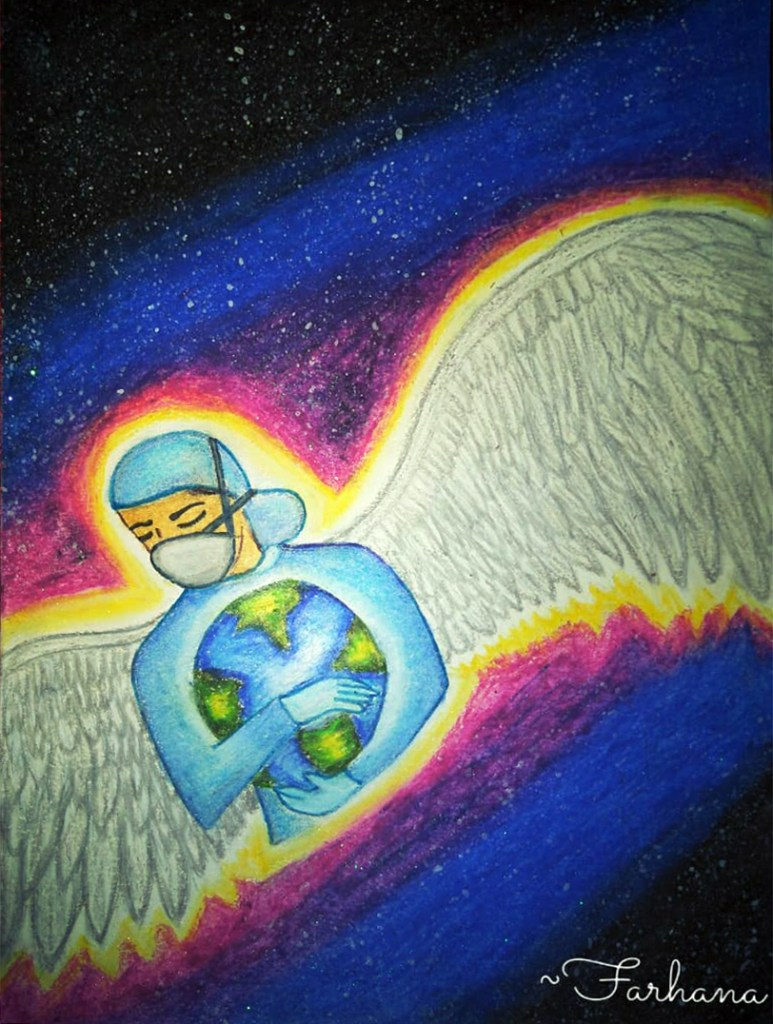 Angels in Disguise, painting in oil pastels by Farhana Momin, Bangalore - art created during lockdown to fight Covid-19 pandemic