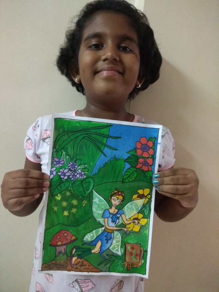 Lily's garden, painting by Swanandi Babrekar (class 5) - part of selected paintings in lockdown on day 15 to fight Covid-19