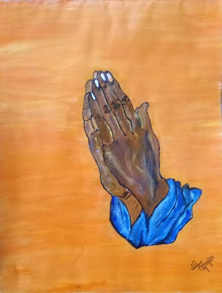 Prayer and Namaste with folded hands for world safety, acrylic painting by Sarika Jain