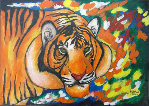 Painting by Siddhanth Mukul Saha (14 years), D.A.V. International School, Ahmedabad - shortlisted in Khula Aasmaan free online painting competition for October to December 2016.
