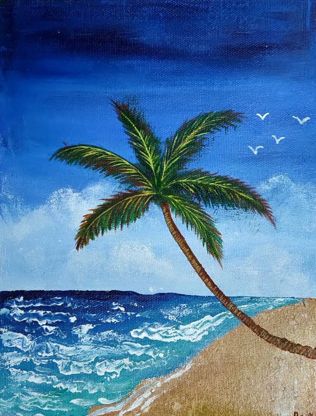 Palm tree on the beach, painting by Aarya Sauparn - art in lockdown due to Covid-19 pandemic