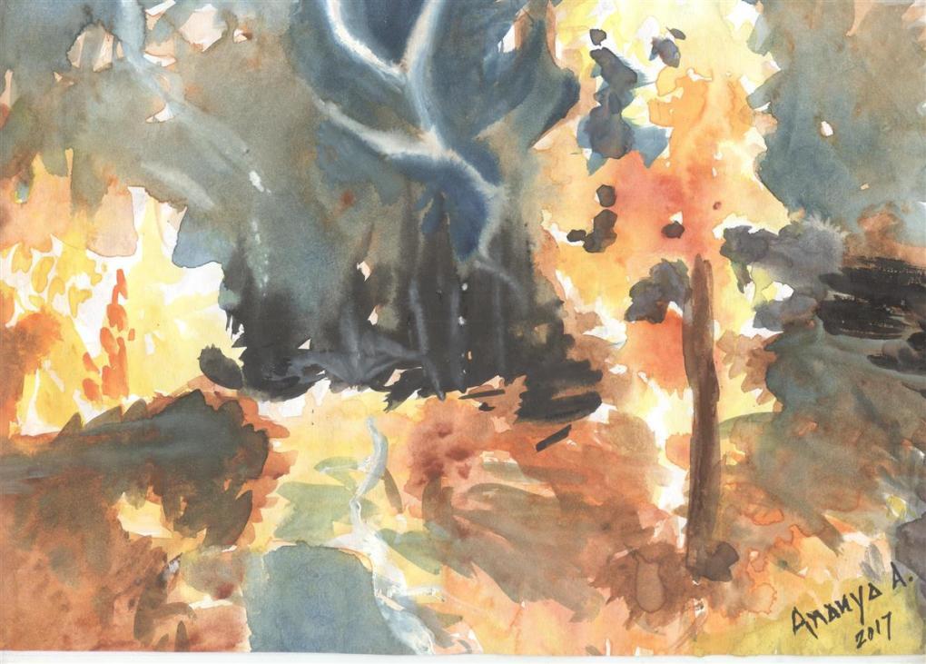 Painting by Ananya Aloke - medal winner in Khula Aasmaan painting contest - 3
