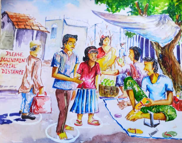 Social Distancing, painting by Annesha Dutta (class 10), Murshidabad, West Bengal - art in the time of lockdown due to coronavirus pandemic