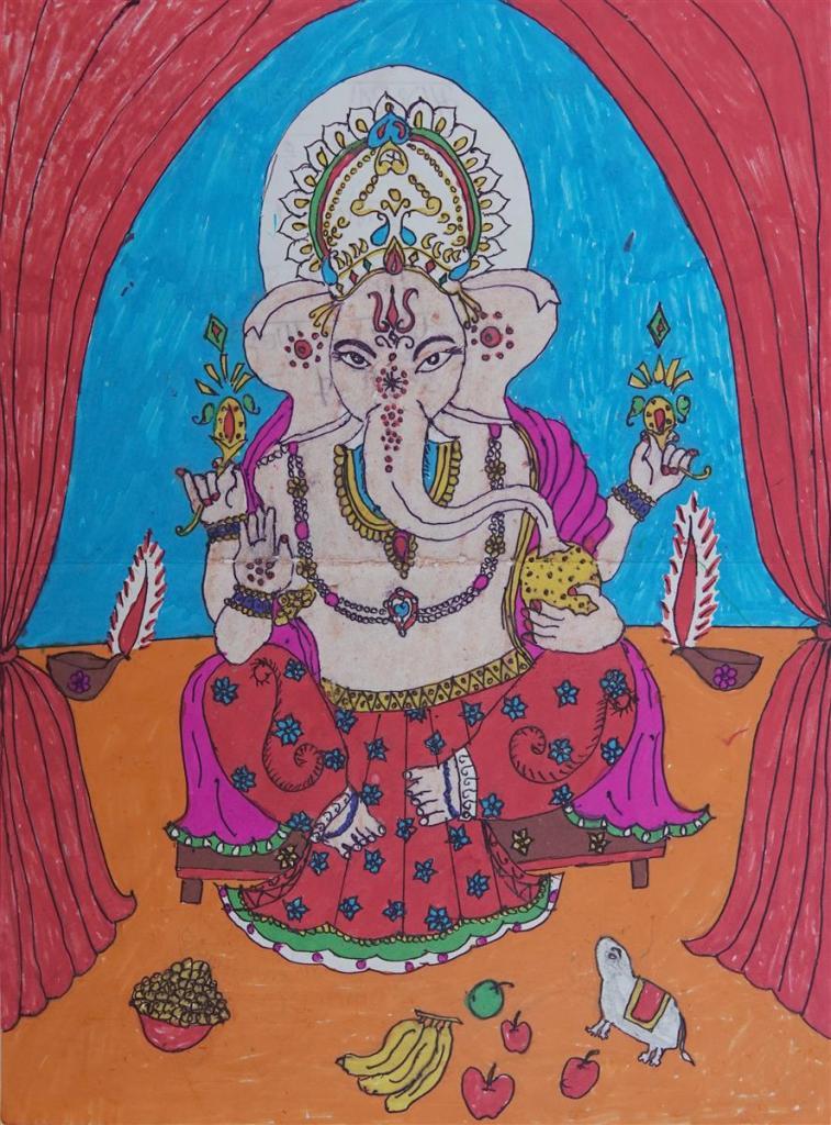 Painting by Bhagyashri Lakshman Vangad (class 7), Dhamangaon Ashramshala, Dist. Palghar - Shortlisted in Khula Aasmaan kids drawing contest for July to Sept 2019
