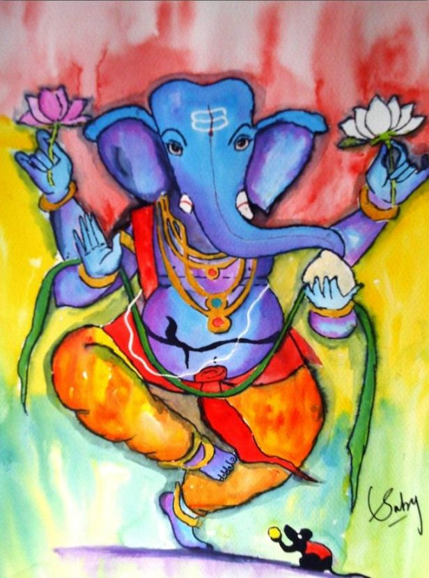 Dancing Ganesha by Sarabjit Kaur, posted to mark Ganeshotsav