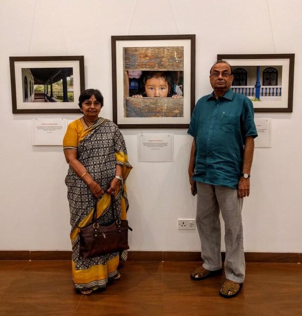 Dr. Shaila and Mr. Ramakrishna Telang at Milind Sathe's solo photography exhibition at Nehru Centre Mumbai - fundraiser for Nana Palkar Smruti Samiti