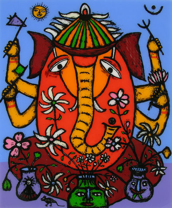 Ganesh I, Print by Madhvi Parekh, Reverse Silkscreen on Acrylic in 12 colours, 48 x 10 inches