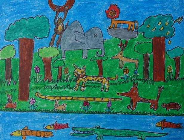Painting by John P Anson (7 years), TOC H Public School, Vyttila, Kochi - Honorable Mention in art contest result of Khula Aasmaan