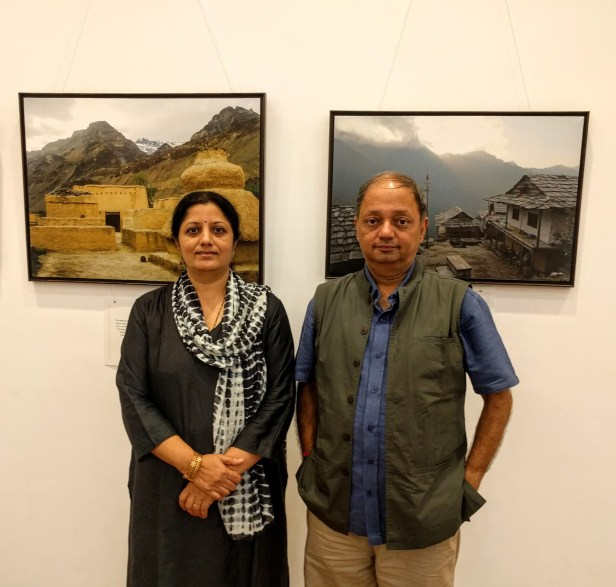 Milind Sathe with artist Chitra Vaidya at the photography exhibition - My pictures with their little stories