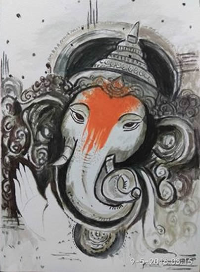 Lord Ganesh by Mrudula Bapat - Ganapati painting to mark Ganesh festival