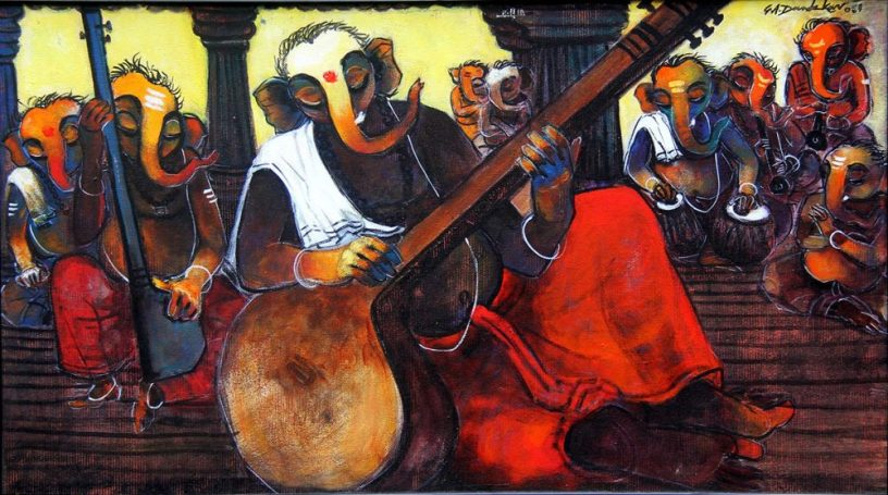 Mehefil of Ganesha, painting by G A Dandekar, Acrylic on Canvas, 24 x 43 inches