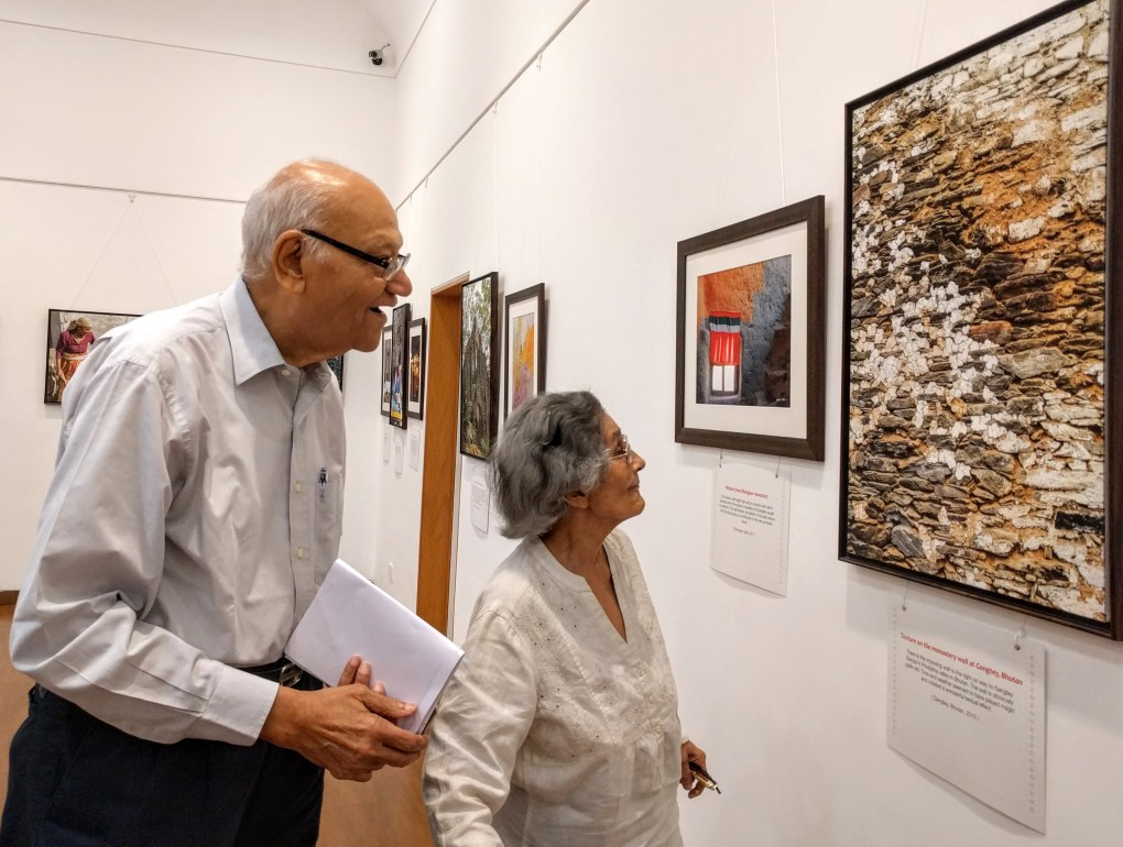 Mrs. and Mr. Julio Ribeiro at Milind Sathe's solo photography show at Nehru Centre, Worli, Mumbai (August 2016)