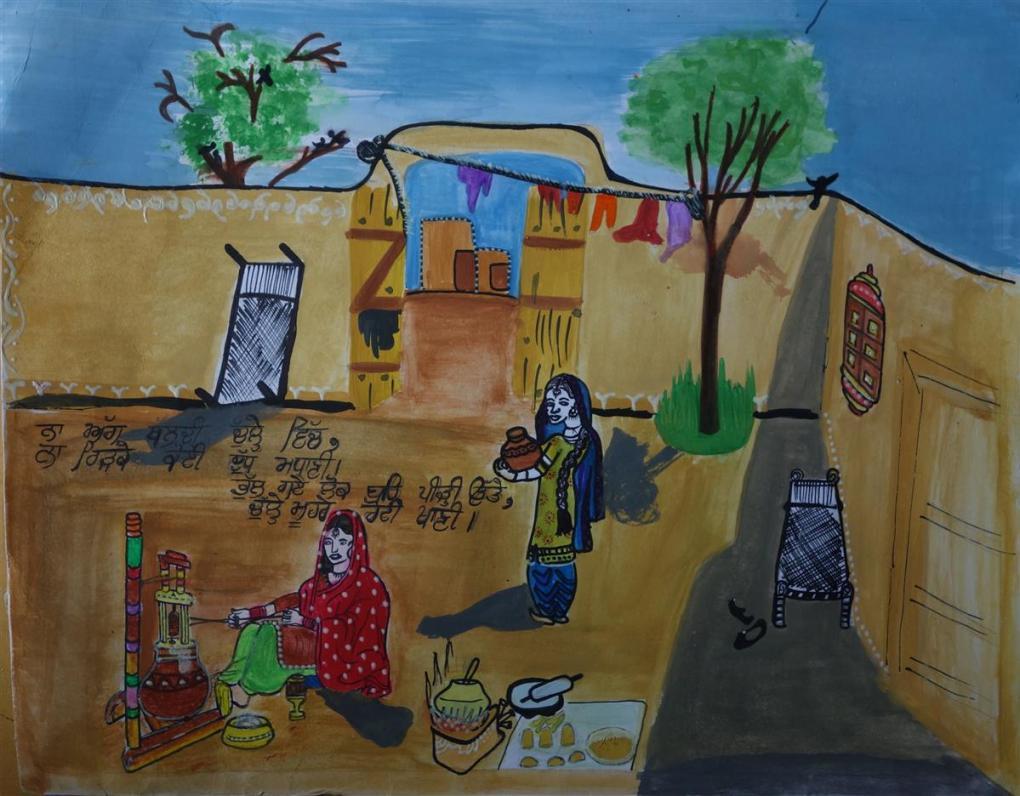 Painting by Navpreet Kaur (born : 2001), Satya Bharti Senior Secondary School, Chogawan - bronze medal in Khula Aasmaan painting contest - 3 (free online international painting contest)