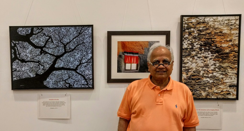 "Ar. Sudhir Jambhekar at the exhibition ""My pictures with their little stories"" at Nehru Centre Mumbai"