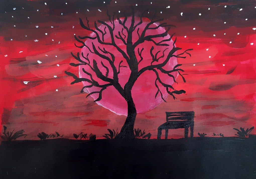 Twilight, painting by Anil Bhatia, acrylic paints on canvas paper - art ideas on day 21