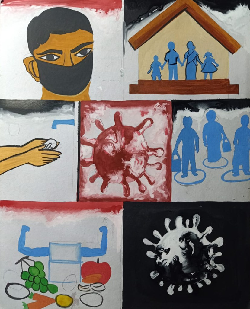 Painting by Chaitali Paul, Silchar, Assam - art in the time of lockdown to fight covid pandemic - stay home, stay safe