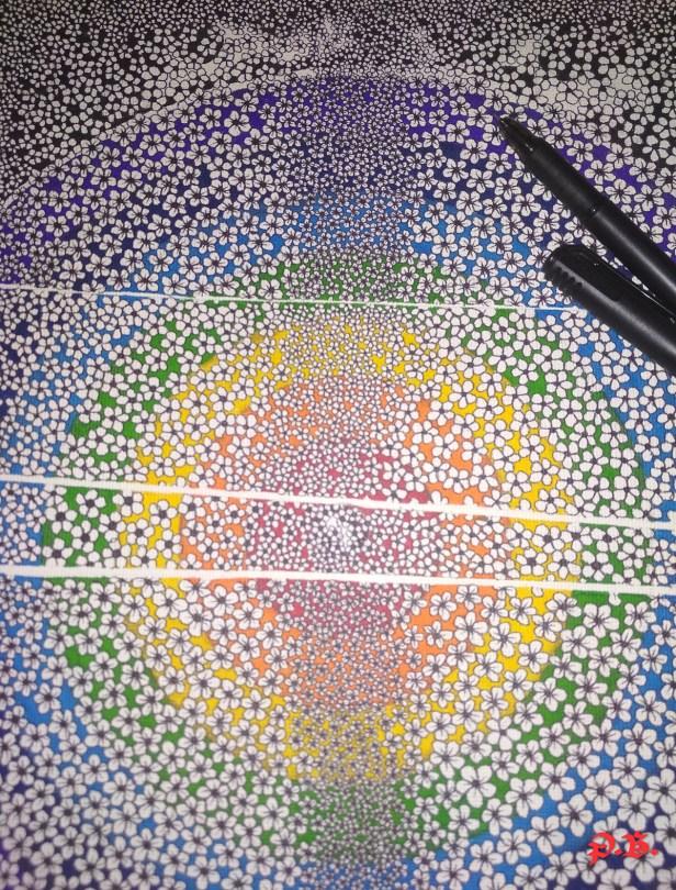 """VIBGYOR within the Flowers !"" by Prakriti Bhushan - art activities during lockdown - art ideas on day 21"