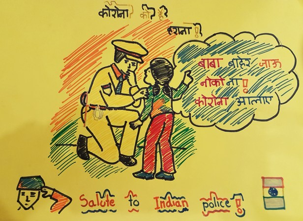 Salute to Covid-19 warriors, painting by Raghav Sheth (9 years), Satara - art to spread hope and positivity