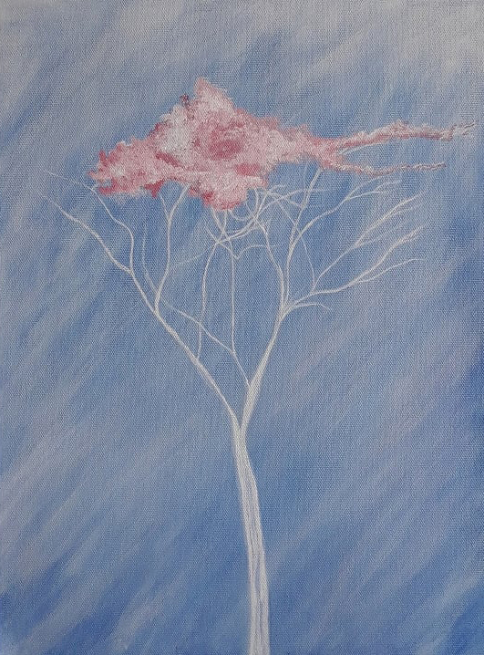 "Title: Tree of Hope, Artist : Sumdima Rai, Medium : Acrylic on canvas, Size : 12""x16"""