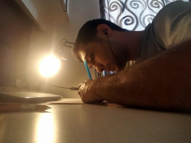 Varjavan Dastoor working on his artwork - Art in Covid-19 pandemic to fight fear and panic