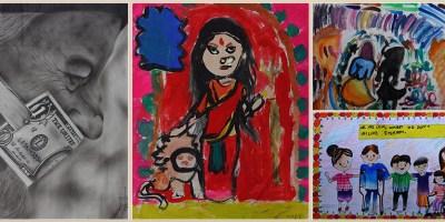 medal winning paintings - Khula Aasmaan international art contest result