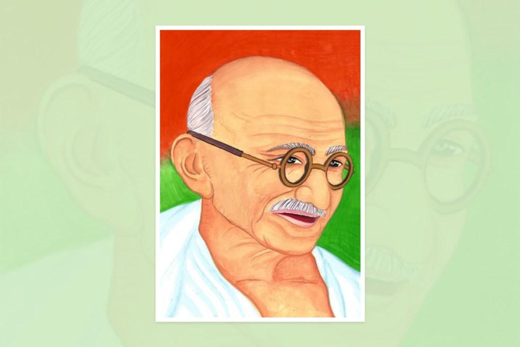 "Painting by Bandita Mahanta, Nalco Nagar, Odisha, India - one of the select paintings from the international painting competition ""World of Mahatma Gandhi"""