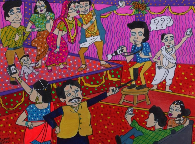 Painting on selfie obsession by young artist Manali Bhagwat won a silver medal in Khula Aasmaan painting competition