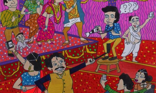 Painting by Manali Bhagwat is a social commentary on obsession with selfies