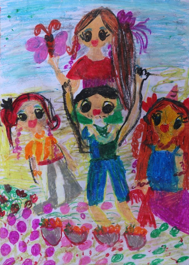 Family Picnic painting by Neily Hollupathirage (7 years), Dehiwala, Sri Lanka - medal winner in Khula Aasmaan painting competition for children