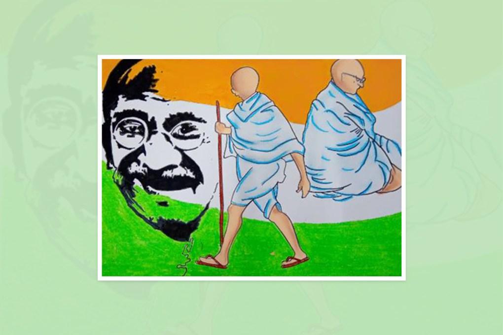 "Artwork by Pooja Mallepula, Hyderabad, Telangana, India - one of the select artworks from international art competition ""World of Mahatma Gandhi"""