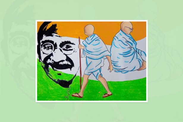 "Artwork by Pooja Mallepula, Hyderabad, Telangana, India - one of the select artworks from international art competition ""World of Mahatma Gandhi"""