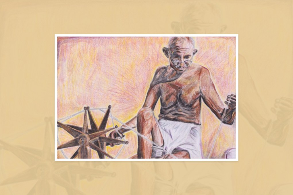"""Painting by Shamyuktha, Trichy, Tamil Nadu, India - one of the select paintings from the international painting competition """"World of Mahatma Gandhi"""""""